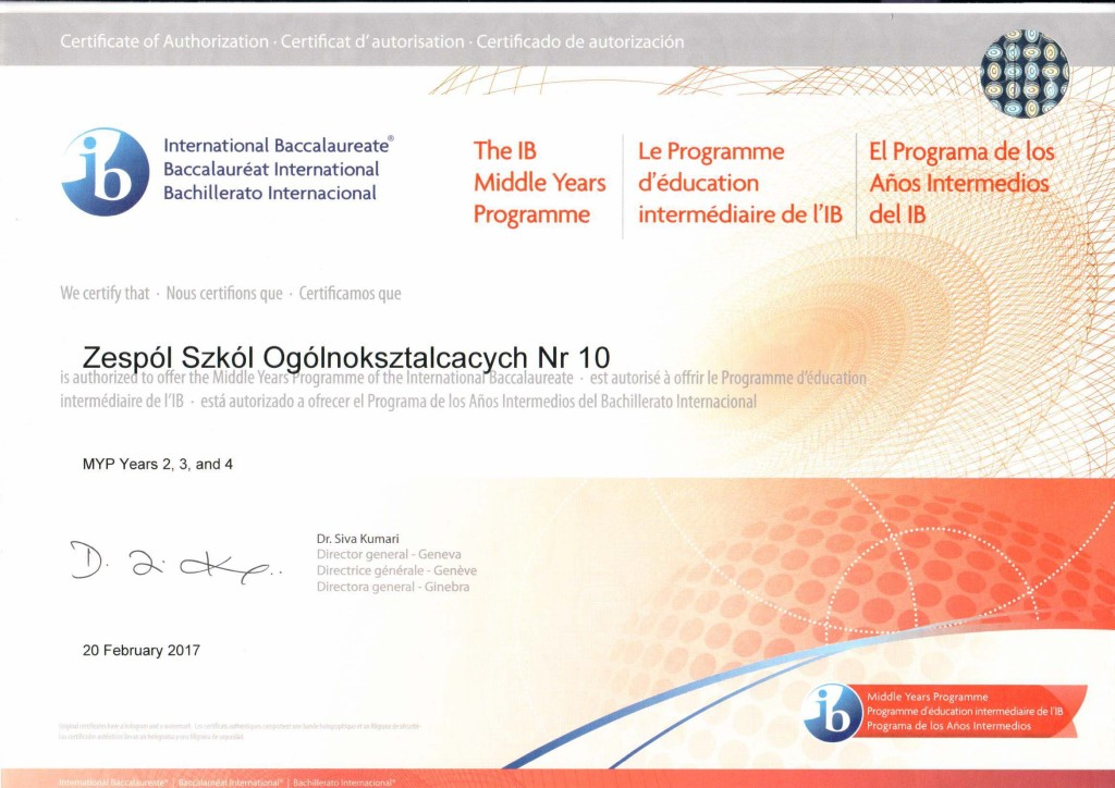 Certificate of Authorization MYP - ZSO Nr 10 Gliwice-1