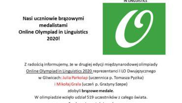 Nasi uczniowie brązowymi medalistami Online Olympiad in Linguistics 2020!