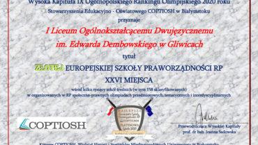 Kolejny sukces uczniów inauczycieli naszej szkoły – uzyskaliśmy status ZŁOTEJ EUROPEJSKIEJ SZKOŁY PRAWORZĄDNOŚCI RP 2020 r.
